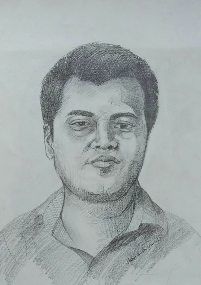 Portrait drawing of Debbroto Mondal