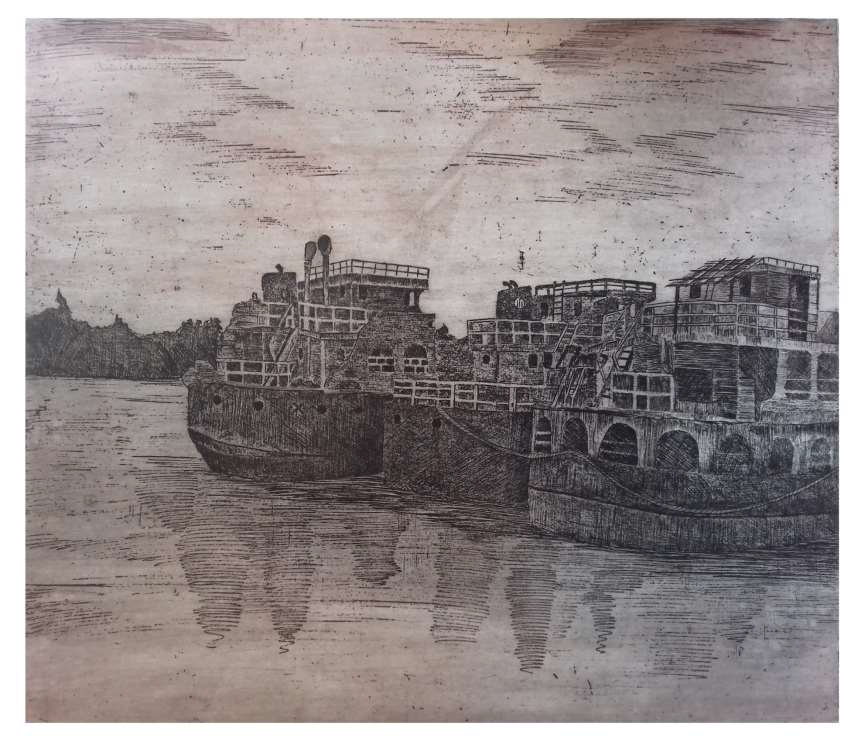 Anchor Etching print by Mahananda Gain